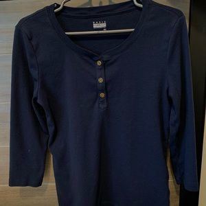 A navy blue long sleeve tee size small